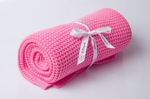 Knitted cotton blanket - candy pink