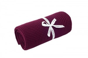Knitted cotton blanket - burgundy
