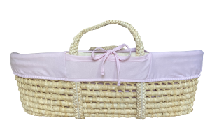 Pink cover for Moses basket - organic cotton