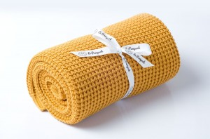 Knitted cotton blanket - mustard